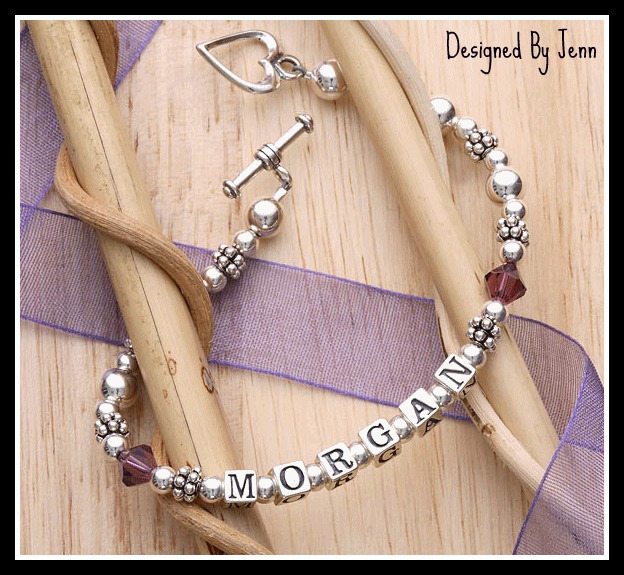 4e4af402b Sterling Mothers Bracelet w/Swarovski Birthstone Accent (up to 8 Sterling  Letters)