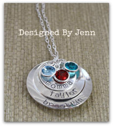 a344ac318 3-Layer Personalized Hand-Stamped Sterling Silver Necklace w/ Birthstone  Crystals (please enter names [up to 8] in notes at checkout - contact me  for ...